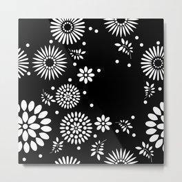 Black and white seamless floral pattern Metal Print