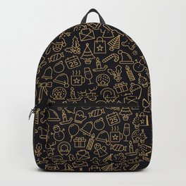 Lovely Golden Christmas Stuffs Pattern Backpack