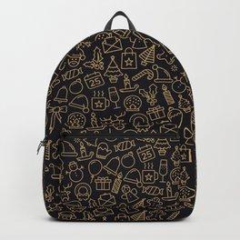 Lovely Golden Christmas Stuffs Pattern Backpack