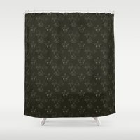 anatomical heart Shower Curtains featuring Anatomical Vertebrae Pattern Black by B Brooks