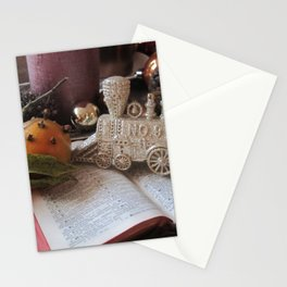 Santa's train and Christmas still life Stationery Cards