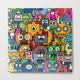 All robots - cute and colorful pattern Metal Print