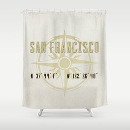 San Francisco - Vintage Map and Location Shower Curtain