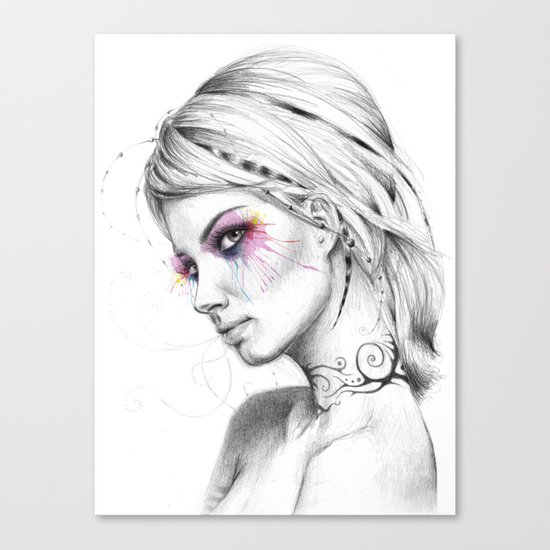 Beautiful Girl with Tattoos and Colorful Eyes Canvas Print