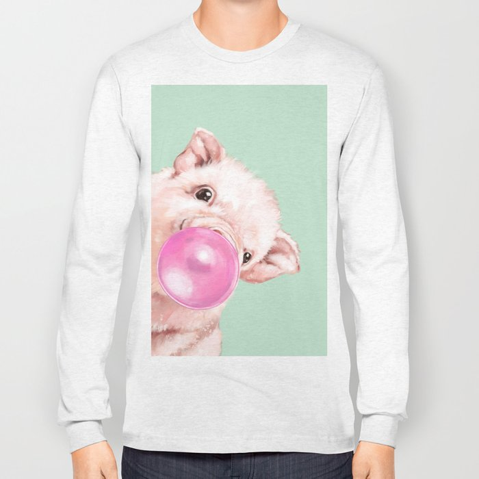 Bubble Gum Sneaky Baby Pig in Green Long Sleeve T-shirt