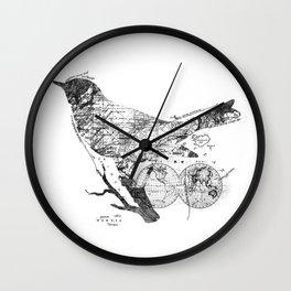 Bird Wanderlust Black and White Wall Clock