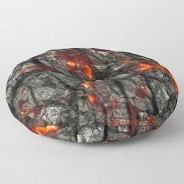 Fiery lava glowing through dark melting stone Floor Pillow