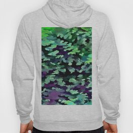 Foliage Abstract Pop Art In Jade Green and Purple Hoody