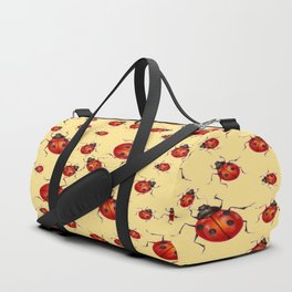 """I LOVE RED LADY BUGS"" ON CREAM COLOR Duffle Bag"