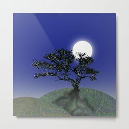 Lone Tree with the Moon Metal Print