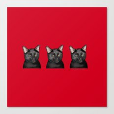 Three Black Cats on Red Canvas Print