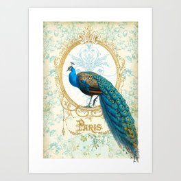 Paris Peacock Art Print