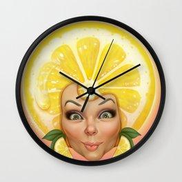 Lemon fruit face Wall Clock
