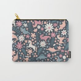 Floral Burst of Dinosaurs and Unicorns in Mauve + Peach Carry-All Pouch