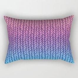 Chunky Knit Pattern in Pink, Blue & Purple Rectangular Pillow