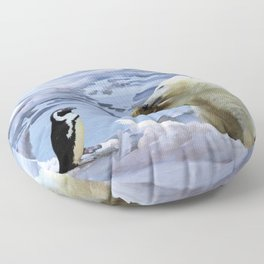 Cute Polar Bear Cub & Penguin Floor Pillow