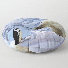 Cute Polar Bear Cub & Penguin Floor Pillow