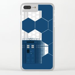 Tardis Shadow Blue Box Clear iPhone Case