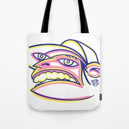 Skateboard Kid with Big Mouth and Crazy Eyes, Wearing Trucker Hat Tote Bag