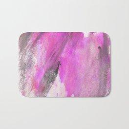 Artistic purple pink black watercolor painting brushstrokes Bath Mat