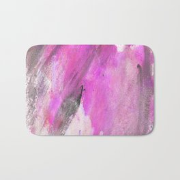 Artistic purple pink black watercolor painting brushstrokes Bath Mat