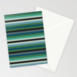 Adelaide Modern Riviera Stripe in Green - Stationery Cards