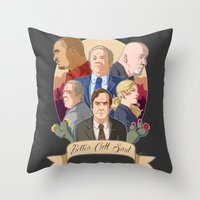 better call saul Throw Pillows featuring Better Call Saul by NessaSan