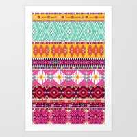 Seamless colorful aztec pattern with birds and arrows Art Print