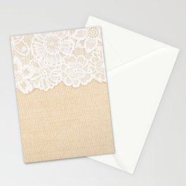 White Ornamental Lace over fabric design for border or background Stationery Cards