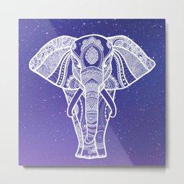 Starry Sky Elephant Metal Print