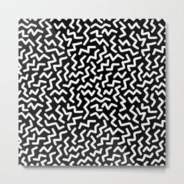 White Zigzag Memphis Style Black and White Pattern Metal Print
