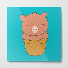 Kawaii Chocolate Bear Ice Cream Metal Print