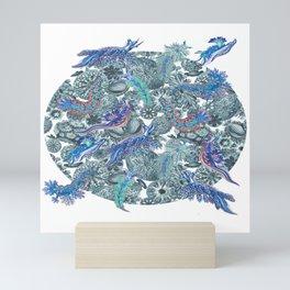 Ernst Haeckel Blue Hue Nudibranch Over Cerulean Sea Squirts Mini Art Print