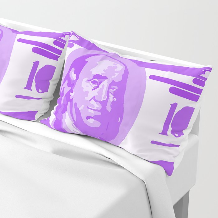 BIG PURPLE 100 DOLLAR BILL BEN FRANKLIN $$$ Pillow Sham