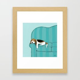 Happy Couch Beagle Framed Art Print