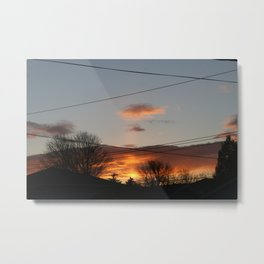 Beautiful suburban sunset photography powerlines and rooftops Metal Print