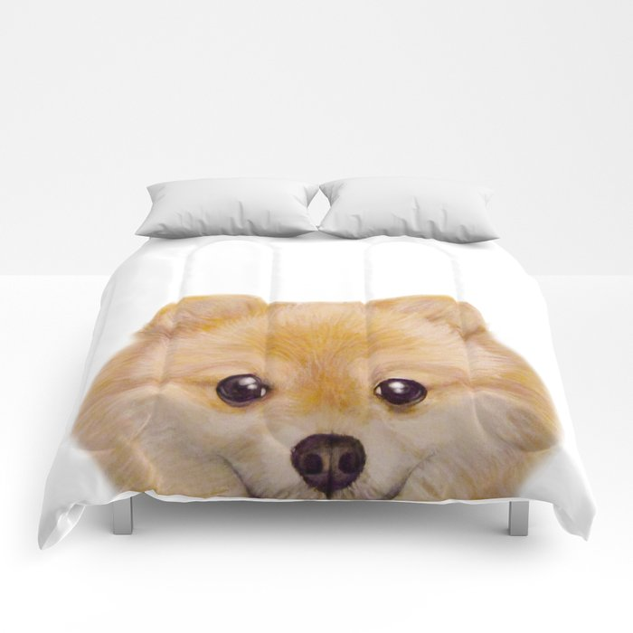 Pomeranian Dog illustration original painting print Comforters