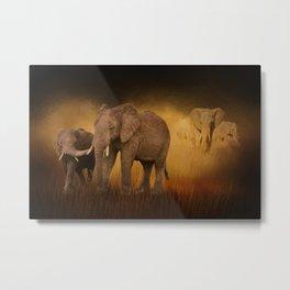 Elephants In The Tall Grass Metal Print