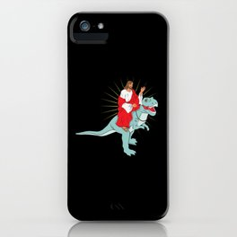 Jesus Riding A Dinosaurs Rex Gift iPhone Case