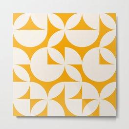 Abstract Yellow Circles Modern Mid Century Geometric Pattern Scandinavian Rustic Interior Metal Print