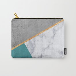 MARBLE TEAL GOLD GRAY GEOMETRIC Carry-All Pouch