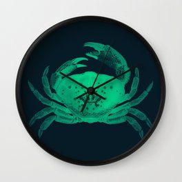 Colorful Crab Art - Green Wall Clock