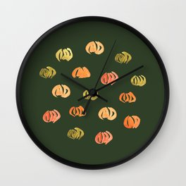 Pumpkins on Hunter Green Wall Clock
