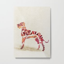 Great Dane Dog Typography Art / Watercolor Painting Metal Print