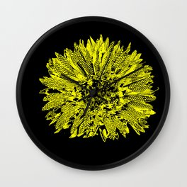 Stamped Wildflower in Yellow and Black Wall Clock