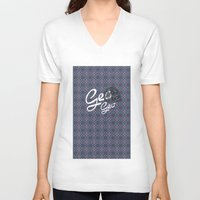 geo V-neck T-shirts featuring GEO  by NENE W