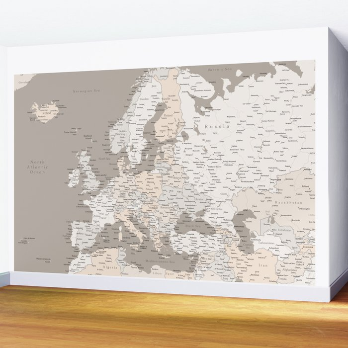 """Light brown map of Europe with cities """"Light earth tones"""" Wall Mural"""