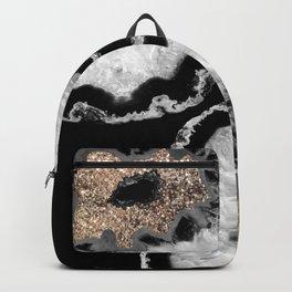 Gray Black White Agate Glitter Glamor #8 #gem #decor #art #society6 Backpack