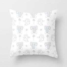 Elephant and Mouse Throw Pillow