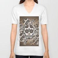 sugar skulls V-neck T-shirts featuring Sugar skulls by nicky2342